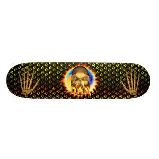 Dan skull real fire and flames skateboard design