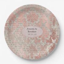 Danask Rose Gold Vintage Chic Wedding Paper Plate