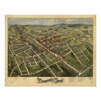 Danbury Connecticut 1875 Antique Panoramic Map Posters