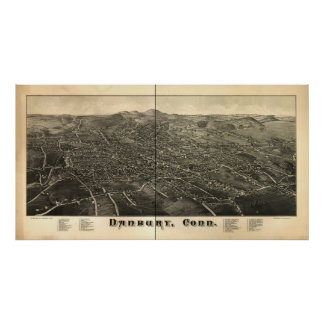 Danbury Connecticut 1884 Antique Panoramic Map Posters