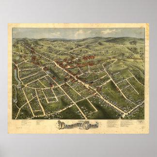 Danbury Connecticut 1885 Antique Panoramic Map Poster