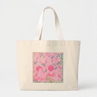 Dance 妓 with flower and invitation cat large tote bag