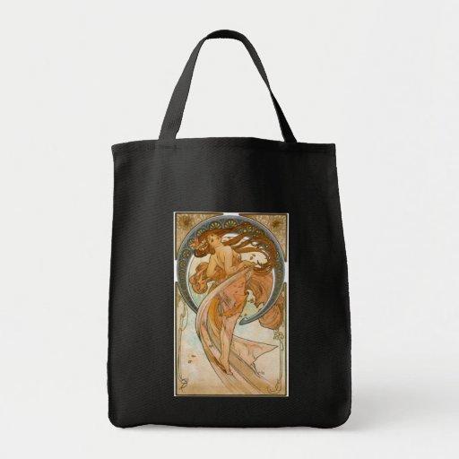 Dance (1898), Alphonse Mucha Fine Art Nouveau Grocery Tote Bag