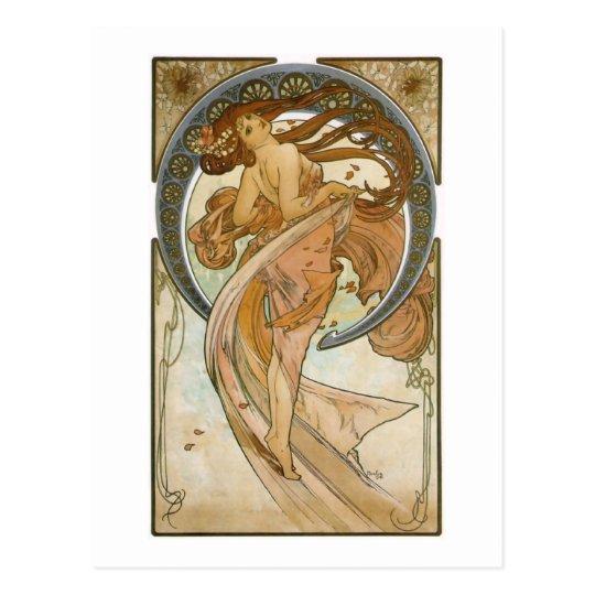 Dance (1898), Alphonse Mucha Fine Art Nouveau Postcard