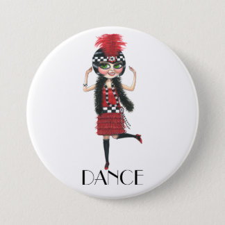 Dance 1920s Costume Big Eye Flapper Girl 7.5 Cm Round Badge