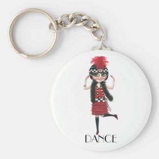 Dance 1920s Costume Big Eye Flapper Girl Basic Round Button Key Ring