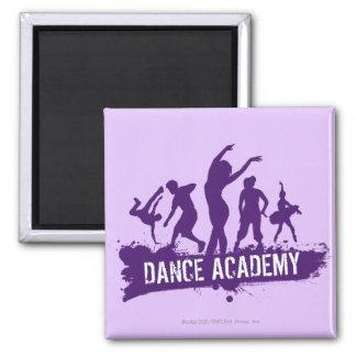 Dance Acadmey Dancer Silhouettes Logo Square Magnet