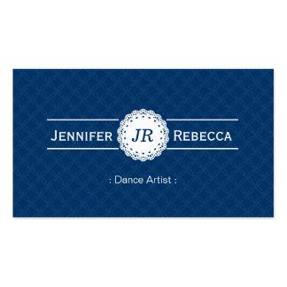 Dance Artist - Modern Monogram Blue Business Cards