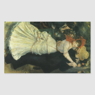 Dance at Bougival by Pierre Renoir, Vintage Art Rectangular Sticker