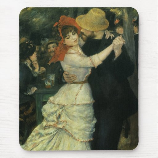 Dance at Bougival by Renoir, Vintage Impressionism Mouse Pads