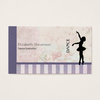 Dance - Ballerina Silhouette on Vintage Background Business Card