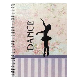 Dance - Ballerina Silhouette on Vintage Background Notebook