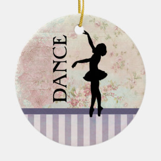 Dance - Ballerina Silhouette Vintage Background Christmas Ornament