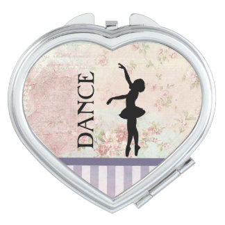 Dance - Ballerina Silhouette Vintage Background Compact Mirrors