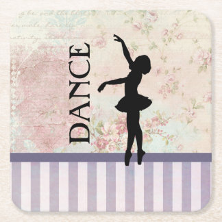 Dance - Ballerina Silhouette Vintage Background Square Paper Coaster