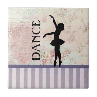 Dance - Ballerina Silhouette Vintage Background Tile