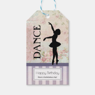 Dance - Ballerina Silhouette Vintage Birthday Gift Tags