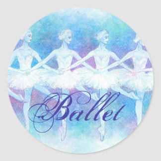 Dance ballet seal of swan of four feathers round stickers