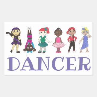 DANCE Ballet Tap Jazz Acro Hip Hop Lyrical Dancers Rectangular Sticker