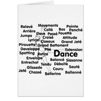 Dance Blk Ltrs ballet dancer 75 background Card