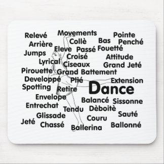 Dance Blk Ltrs ballet dancer 75 background Mouse Mat