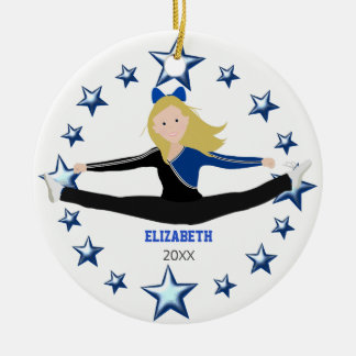 Dance Cheer Blonde Blue And Black Christmas Ornament