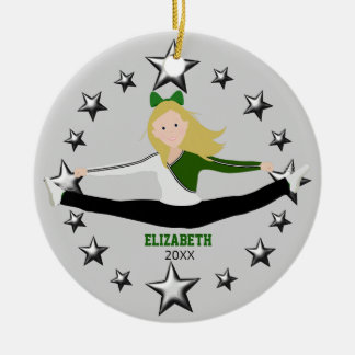 Dance Cheer Blonde Green And White Christmas Ornament