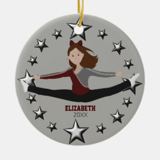 Dance Cheer Brunette Maroon And Gray Round Ceramic Decoration