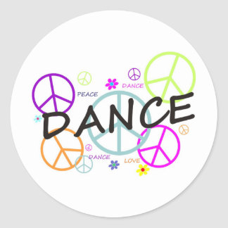 Dance Colored Peace Signs Classic Round Sticker