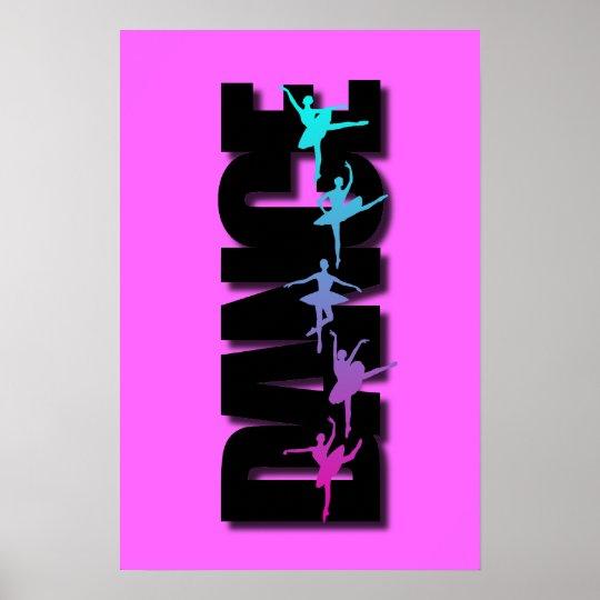 Dance Coloured Ballerinas Poster