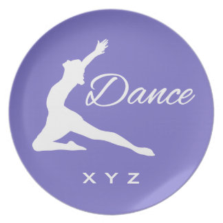 DANCE custom monogram & color melamine plate