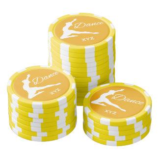 DANCE custom monogram & color poker chips