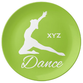 DANCE custom monogram & color porcelain plate