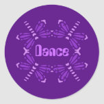 Dance, dragonflies in purple & pink round sticker