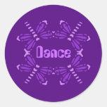 Dance, dragonflies in purple & pink classic round sticker