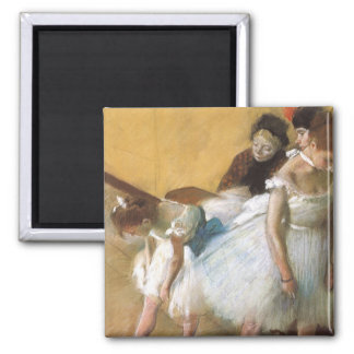 Dance Examination by Edgar Degas, Vintage Ballet Square Magnet