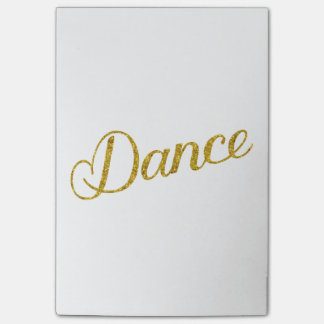 Dance Gold Faux Glitter Metallic Inspirational Post-it Notes