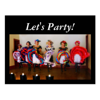 """Dance Hall Girls """"Let's Party!"""" Postcard"""