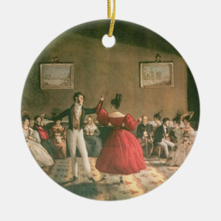 Dance in a Salon in Buenos Aires, c.1831 (w/c on p Round Ceramic Decoration