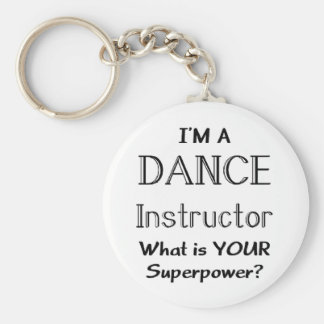 Dance instructor basic round button key ring