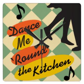 Dance Me Round the Kitchen Retro clock