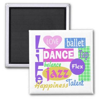 Dance Mix Square Magnet
