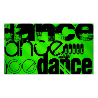 Dance; Neon Green Stripes Double-Sided Standard Business Cards (Pack Of 100)