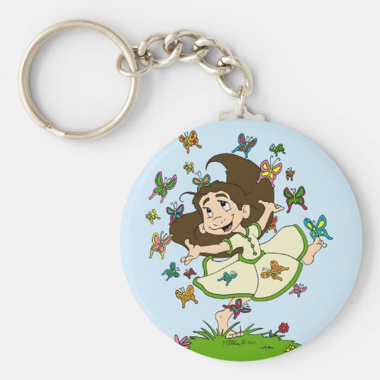 Dance of the Butterflies Basic Round Button Key Ring