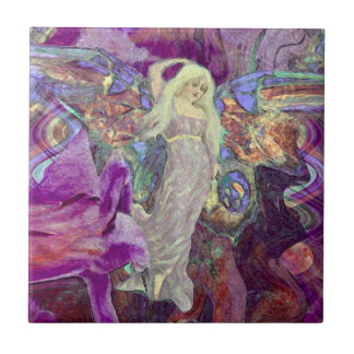 Dance of the Butterfly Fairy Small Square Tile