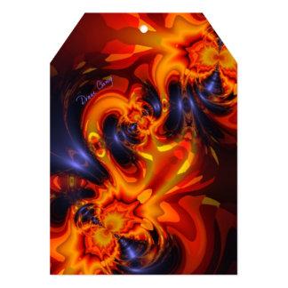 Dance of the Dragons, Abstract Indigo Amber Eyes Custom Invitation