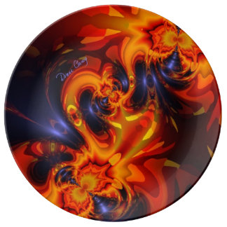 Dance of the Dragons, Abstract Indigo Amber Eyes Porcelain Plate