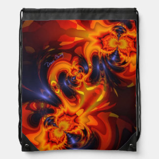 Dance of the Dragons, Abstract Indigo Amber Eyes Drawstring Backpack