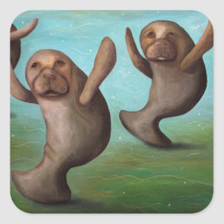 Dance Of The Manatees Square Sticker