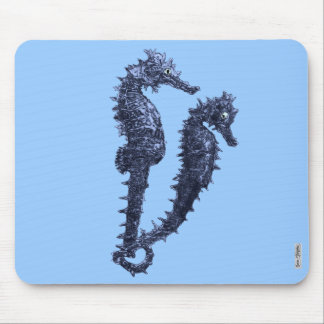 Dance Of The Seahorses (Blue) Mouse Mat
